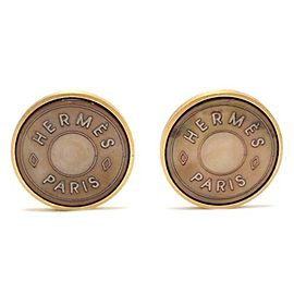 Hermes Gold Tone Hardware and Shell Earrings