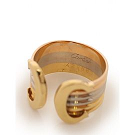 Cartier 2C Ring 18K White, Yellow and Rose Gold Size 5.75