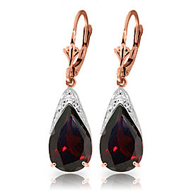10 CTW 14K Solid Rose Gold Leverback Earrings Natural Garnet