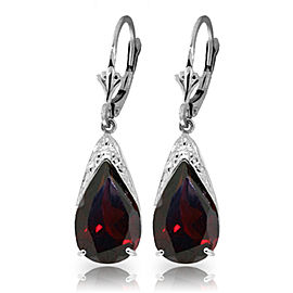 10 CTW 14K Solid White Gold Leverback Earrings Natural Garnet