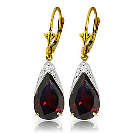10 CTW 14K Solid Gold Leverback Earrings Natural Garnet