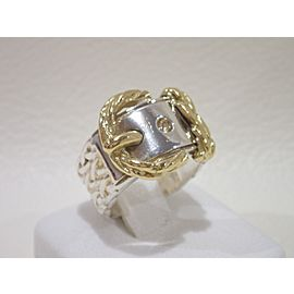 Hermès 18K Yellow Gold, Sterling Silver Ring Size 5