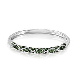 Lani Fratelli 18K White Gold Diamond & Tsavorite Bangle Bracelet