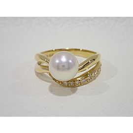 Mikimoto 18k 18K Yellow Gold Cultured Pearl, Diamond Ring Size 6