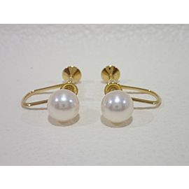 Mikimoto 18K Yellow Gold Cultured Pearl, Diamond Earrings