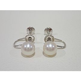 Mikimoto 14k 14K White Gold Cultured Pearl, Diamond Earrings