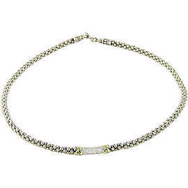 Lagos Caviar 18K Yellow Gold and 925 Sterling Silver With 0.24ctw Diamond Necklace