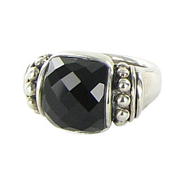 Lagos Caviar Maya 925 Sterling Silver with Onyx Doublet Statement Ring Size 7