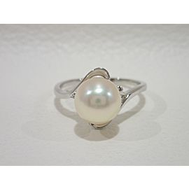Mikimoto 163283069067-E Platinum Cultured Pearl Rings Size 7.5