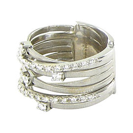Marco Bicego Goa 18K White Gold with 0.41ctw Diamond 7 Strand Ring Size 7
