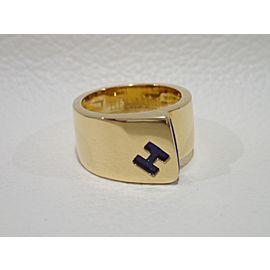 Hermes 163292890909-E 18K Yellow Gold Lapis Lazuli, Lapis Rings Size 53