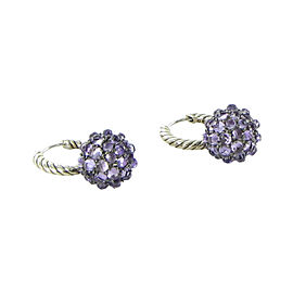 David Yurman Osetra 925 Sterling Silver with Amethyst Drop Dangles Earrings