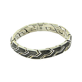 David Yurman 925 Sterling Silver and Forged Carbon Flat Link Bracelet