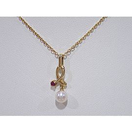 Mikimoto 18K Yellow Gold Cultured Pearl, Ruby Pendant