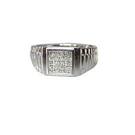 18K WHITE GOLD PRINCESS CUT INVISIBLE DIAMONDS LADIES RING SIZE 8.5