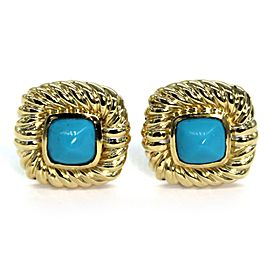 David Yurman 18K Yellow Gold Turquoise Square Cable Post Clip Earrings