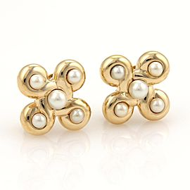 Chanel 18K Yellow Gold Faux Pearl Earrings