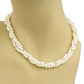 18K Yellow Gold, Sterling Silver Cultured Pearl Necklace