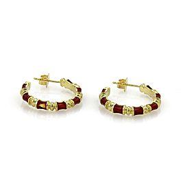 Vintage Tiffany & Co. 18k Yellow Gold Red Enamel Fancy Hoop Earrings