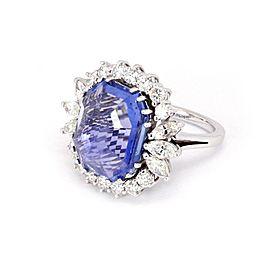 18K White Gold Diamond, Sapphire Ring Size 9