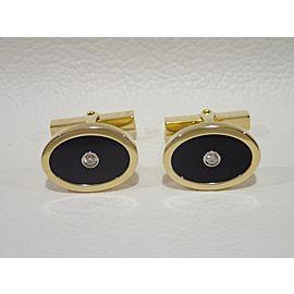 Tiffany & Co. 18K Yellow Gold Onyx, Diamond Cufflinks