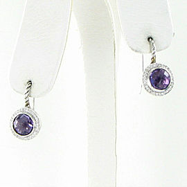 David Yurman Diamond Amethyst Drop Earrings Color Classics 0.18ct Sterling