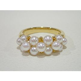 Mikimoto 18K YG Cultured Pearl Ring Size 6.5