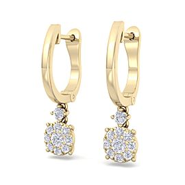 Elegant halo drop earrings in 18K gold with white diamonds of 0.44 ct in weight