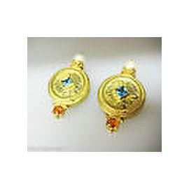 FINE ESTATE 18K YELLOW GOLD PEARL TOPAZ CITRINE EARRINGS
