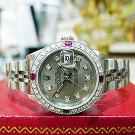 Ladies ROLEX Datejust Diamond Bezel and Silver Diamond Dial Watch