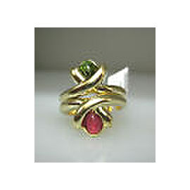 14K YELLOW GOLD GREEN RED STONES LADIES RING SIZE 6.25