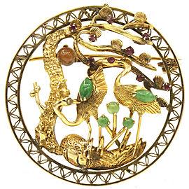 14K Yellow Gold Round Stork Jade Ruby Pendant Brooch Pin