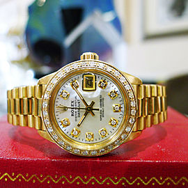 Rolex 18k Solid Yellow Gold President Diamond Bezel Dial 26mm Ladies Watch