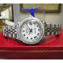 Ladies Rolex Oyster Perpetual Datejust Diamonds Stainless Steel Watch