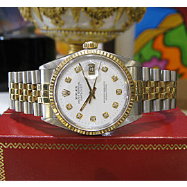 Mens Vintage Rolex Oyster Perpetual Datejust Diamond Yellow Gold Steel Watch