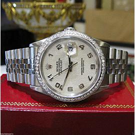 Mens Rolex Oyster Perpetual Datejust Jubilee Dial Diamond Bezel Watch