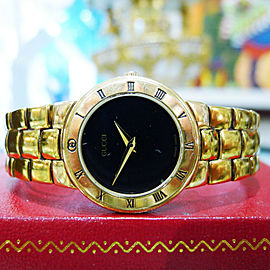 Gucci Gold Plated Round Roman Numbers Quartz Watch Ref: 3300.2.L