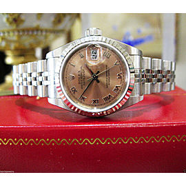 Ladies Rolex Oyster Perpetual Datejust 18K White Gold & Steel Salmon Dial Watch