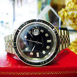Mens Rolex Oyster Perpetual Datejust Diamonds Sapphire Stainless Steel Watch
