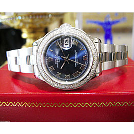 Ladies Rolex Oyster Perpetual Datejust Blue Roman Numeral Dial & Diamond Bezel