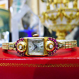 Fine Estate Panto 14K Yellow Gold Ruby Diamond Ladies Wristwatch