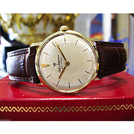 Mens Mid Size Vintage Jules Jurgensen 14K Gold Dress Watch on Leather Strap