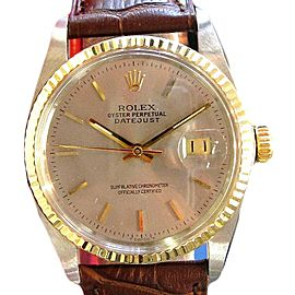 Mens Rolex Oyster Perpetual Datejust Watch Two Tone Stainless Steel Yellow Gold
