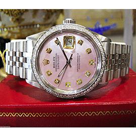 Mens Rolex Datejust Pink Mop Diamond Stainless Steel Watch