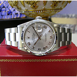 Mens Rolex Oyster Perpetual Datejust Stainless Steel Silver Dial Roman Numerals