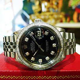 Mens Rolex Oyster Perpetual Datejust Diamonds Stainless Steel Black Dial Watch