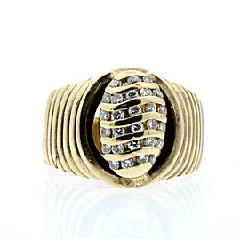 10K YELLOW GOLD OVAL .50ct DIAMOND MENS RING SIZE 8.5