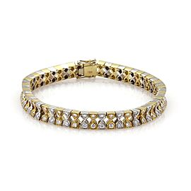 18k Two Tone Gold 3.02ct Diamond Fancy Hourglass Link Tennis Bracelet