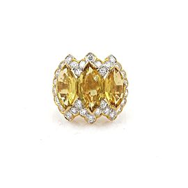 9.40ct Yellow Sapphire & Diamond 18k Yellow Gold Cocktail Ring Size - 4