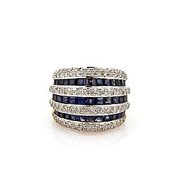 Estate 3.15ct Diamond & Sapphire 18k Gold Wide Dome Band Ring Size 5.5